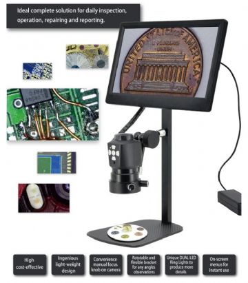 EAGLE-M-HD Inspection Microscope - Stand with Display, HD Resolution, HDMI, Unique Illumination